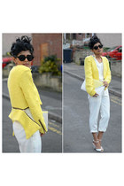 yellow Sheinside jacket - white Sheinside pants