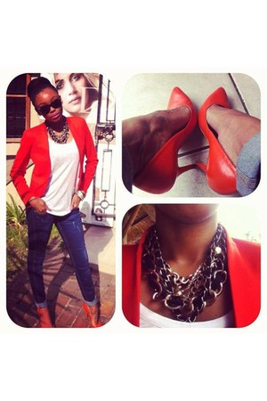 red Zara blazer - navy jeans