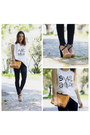 Black-jeans-gold-bag-white-t-shirt
