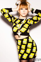 yellow jeremy scott sweater - black jeremy scott skirt