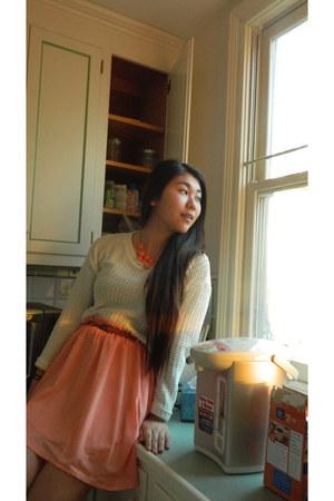 salmon Forever 21 skirt - cream Forever 21 sweater - brown Forever 21 belt