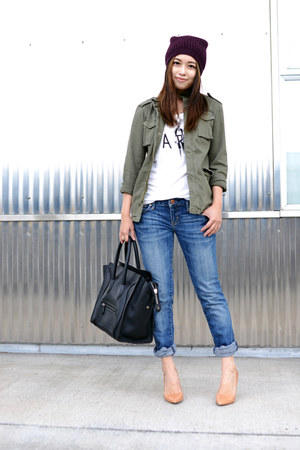 olive green army jacket Anine Bing jacket - black Celine bag - nude Zara heels