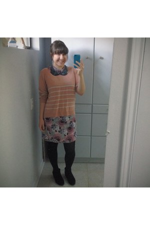 black suede boots - light purple floral print Burberry dress - coral H&M sweater