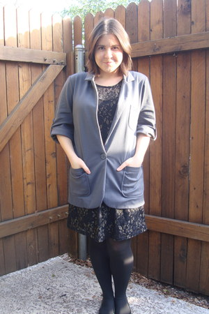black dress - charcoal gray blazer - black Blowfish flats