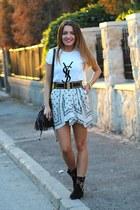 Zara skirt - Local store boots - hm bag - gift t-shirt