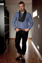 Bugatti boots - NavyBoot blouse - H&M accessories