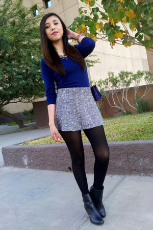 tweed LOB skirt - Forever 21 boots - color Forever 21 blouse