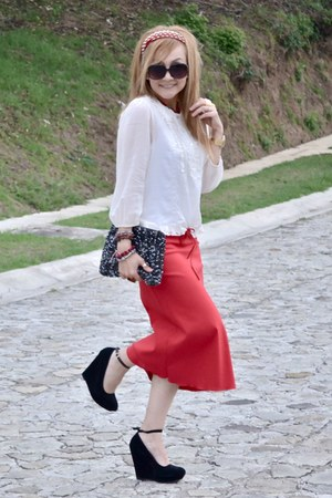 vintage skirt - Zara purse - Zara blouse
