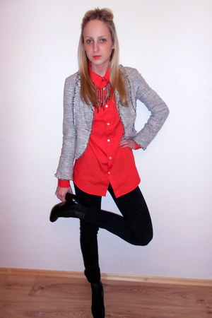 black Mango jeans - heather gray Principles jacket - orange H&M shirt