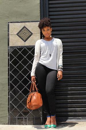 heather gray Zara shirt - black jeggings Express leggings