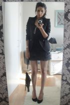 gray asos dress - black shoes - black Zara blazer - black purse - gold Michael K