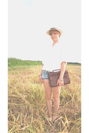 brown bag - white shirt