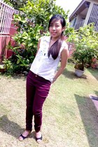 white crotchet random blouse - maroon cotton on jeans - black TSC wedges