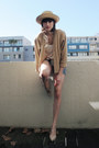 Woollen-thrifted-vintage-cardigan-denim-zara-shorts