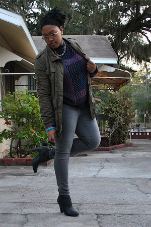 army green new look jacket - black thrifted sweater - gray Charlotte Russe jeans