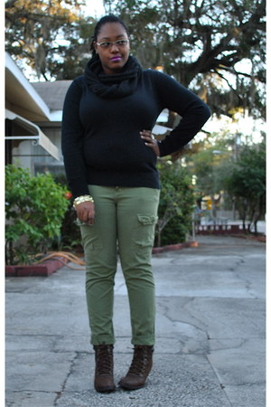 black Old Navy sweater - olive green Urban Outfitters pants - dark brown Rampage