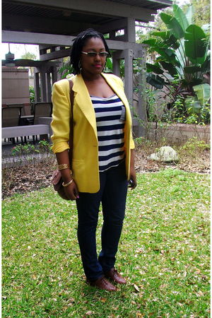 yellow single button thrifted blazer - brown Target shoes