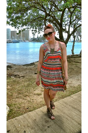 red Forever 21 dress - brown Steve Madden sandals