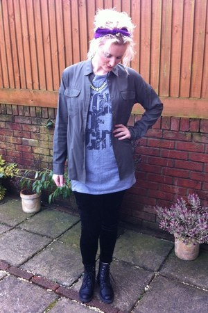 new look boots - next leggings - Topshop shirt - Urban Outfitters vest