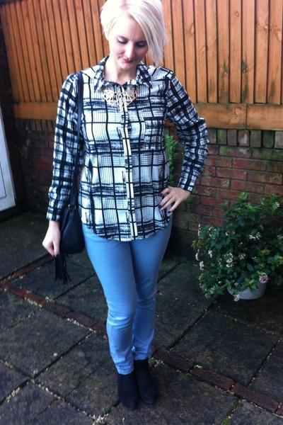 Topshop blouse - next boots - Topshop jeans - Dorothy Perkins necklace
