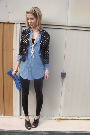 black polka dot Secondhand blazer - black liguid latex Silence & Noise leggings