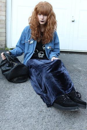 navy Topshop skirt - black Ebay shoes - sky blue thrifted shirt - black Ebay bag