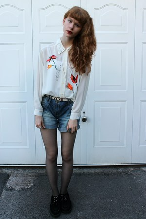 white vintage blouse - black Ebay shoes - blue thrifted shorts