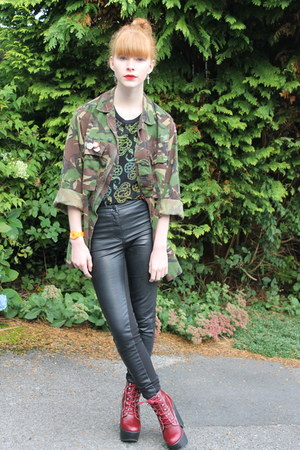 vintage jacket - Jeffrey Campbell shoes - H&M leggings - Urban Outfitters top
