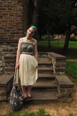 green pattern top - cream long Forever 21 skirt - brown braided belt