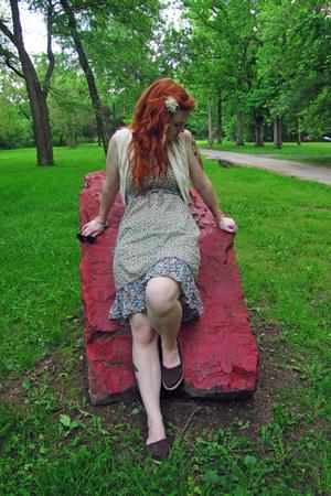 brown espadrilles Roket Dog shoes - lime green floral H&M dress - ivory knit Old