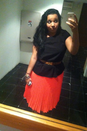 black H&M shirt - carrot orange H&M skirt - brown H&M belt