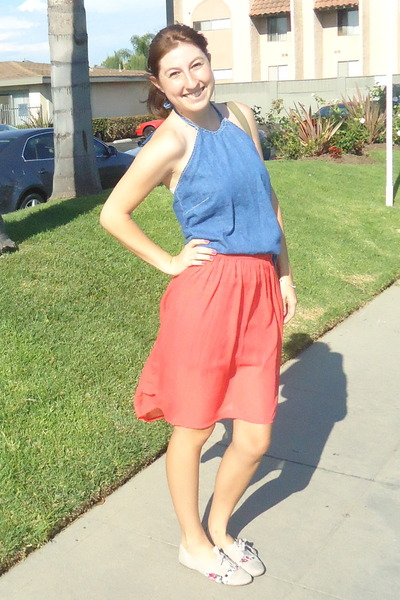 blue denim ann taylor top - salmon high-low Fire Los Angeles skirt