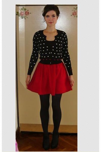 black Mango cardigan - ruby red Zara skirt