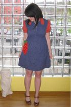 blue vintage dress - brown ModCloth by Pink Studio shoes