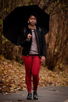 ankle boots asos boots - burgundy skinny H&M jeans - black Zara jacket
