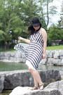 Black-striped-m-for-mendocino-dress-black-lace-detailed-smart-set-hat