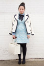 Light-blue-metallic-touch-urban-outfitters-dress-white-jcrew-coat
