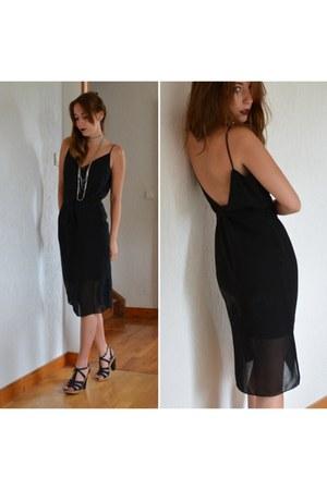 black mid dress Naf Naf dress