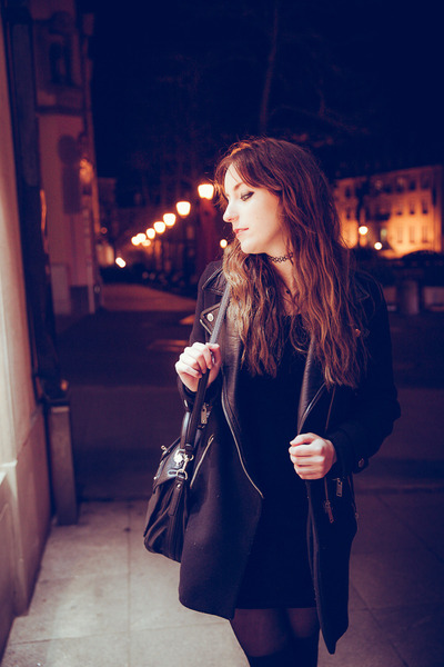 black velvet vintage dress - black Zara coat - black Guess bag