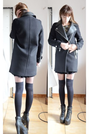 Zara coat - studs military Zara sweater - black velvet American Apparel skirt