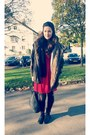 Black-nitar-boots-mango-boots-red-h-m-dress-army-green-laura-scott-jacket