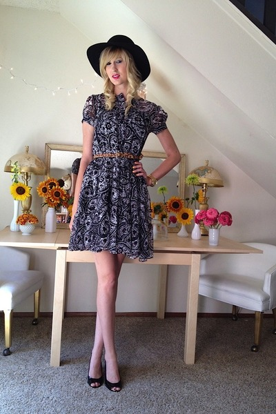white dvf dress - black Tarnish hat - tawny Target belt - black escada heels
