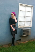 black leather vintage skirt - hot pink Forever 21 hat