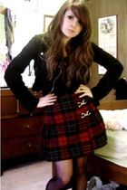 brick red vintage skirt - black Rue 21 jacket - black Forever 21 shirt