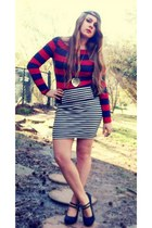 ruby red Forever21 shirt - navy Charlotte Russe skirt