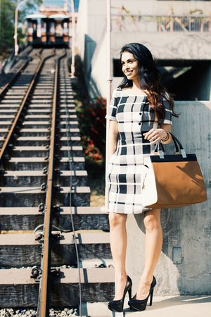 plaid karen millen dress - Zara bag - black leather MLE heels