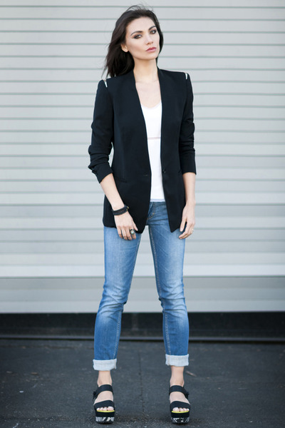acne jeans - Zara blazer - Richard Nicoll top - Matiko sandals
