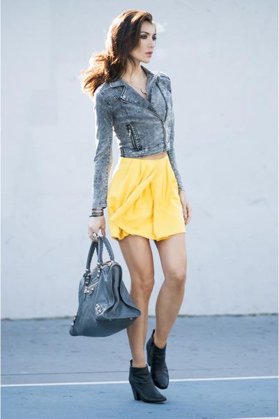 APC skirt - Topshop Ankle Boots boots - Black Acid Wash Denim Jacket jacket