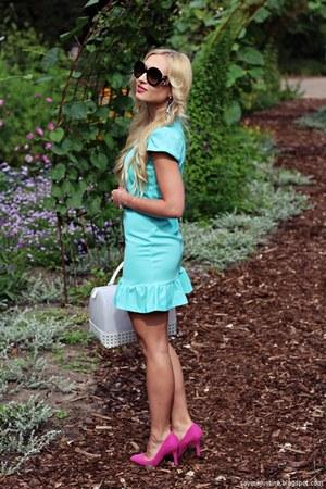 pink shoes - sky blue dress - white bag - black sunglasses