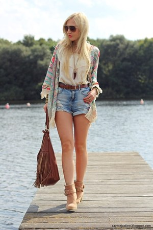 camel boots - neutral jacket - brown H&M bag - sky blue GINA TRICOT shorts